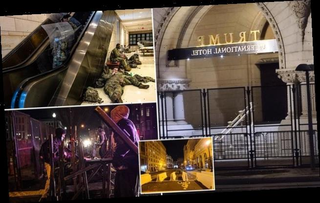 National Guard troops rest and fence erected at Trump Hotel