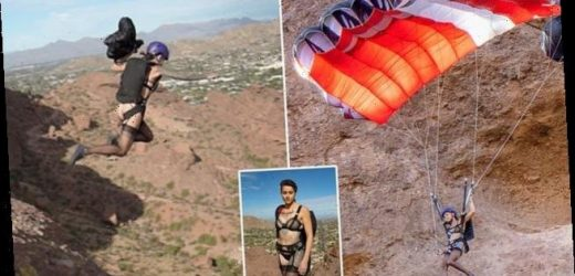 Base jumper leaps off a cliff in lingerie for death-defying campaign