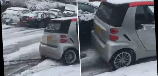 Moment careless Mercedes driver motors down snowy hill smashing into cars