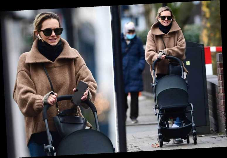 Kara Tointon takes a stroll with her newborn baby son as she's seen for the first time since his birth