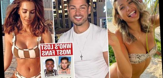 Love Island stars are being hit where it hurts after flaunting their 'work trips' to Dubai as thousands unfollow