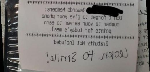 Waitress left with 'no faith in humanity' after rude customer leaves cruel note on receipt