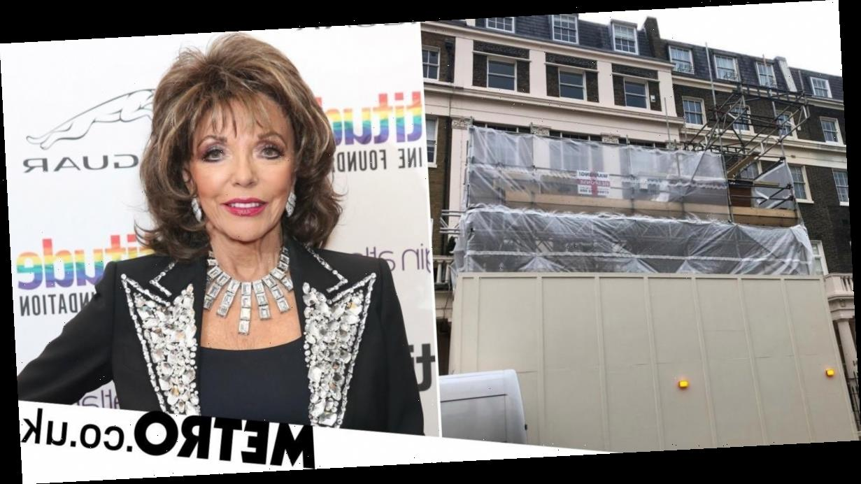 Dame Joan Collins livid at builders without facemasks working on her house