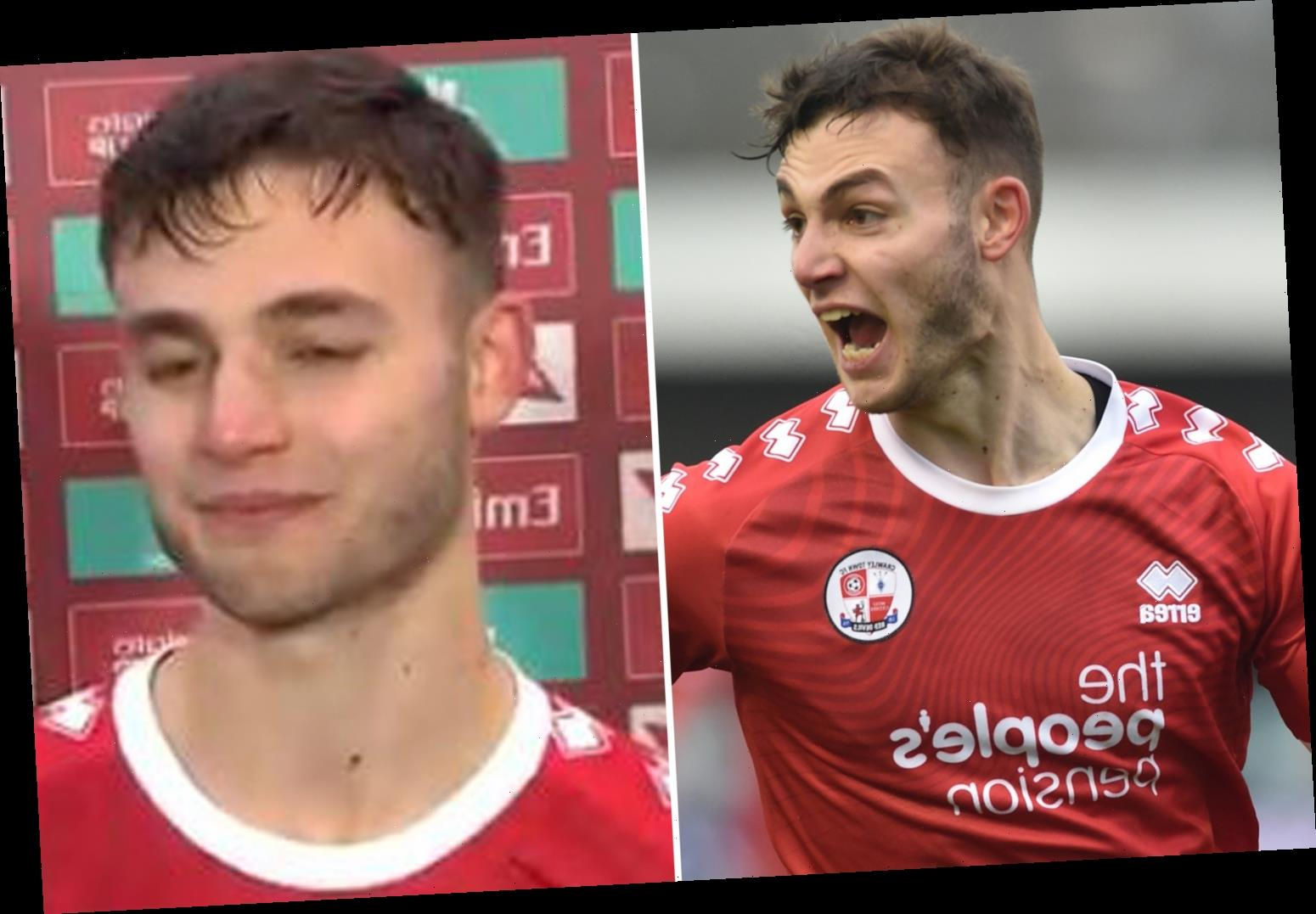 Watch Crawley hero Tsaroulla break down in interview as he celebrates knocking Leeds out of Cup after car crash hell