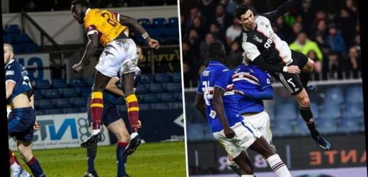 Cristiano Ronaldo's famous 8ft 5in leap beaten by Motherwell defender Bevis Mugabi who jokingly TAUNTS Juventus ace