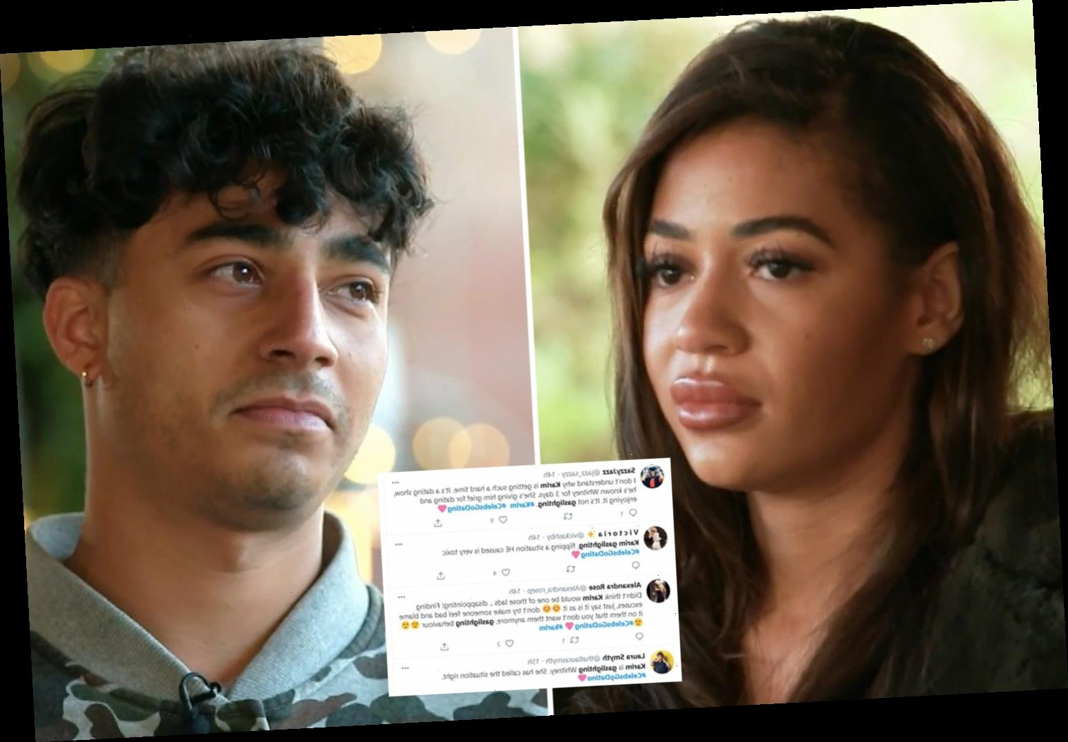 Celebs Go Dating's Karim accused of 'gaslighting' Whitney as furious fans call him an 'a***hole'