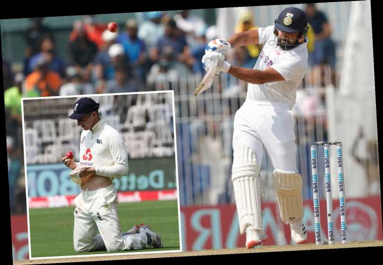 England toiling after Rohit Sharma's mammoth 161 knock as India finish day one on 300-6 on already spinning pitch