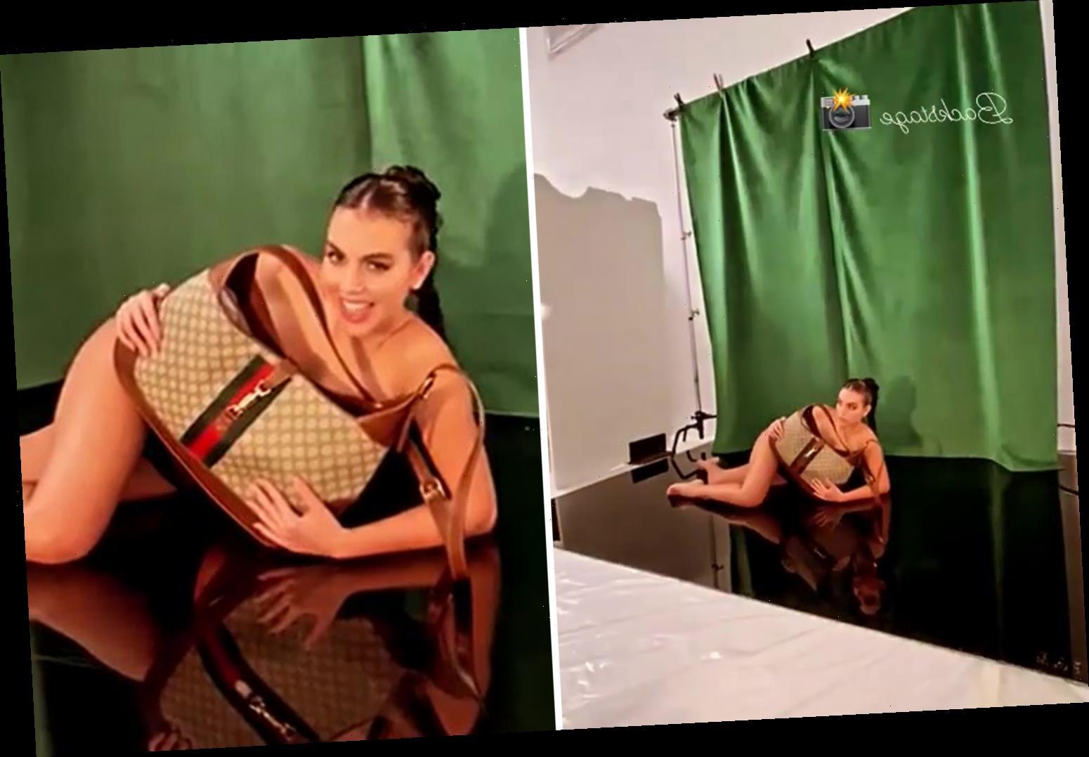 Watch naked Georgina Rodriguez cheekily wink at camera in clip of Cristiano Ronaldo's girlfriend's photo shoot