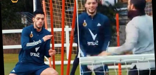 Watch Raul Jimenez beam in training as Wolves striker returns to kicking ball just months after fractured skull