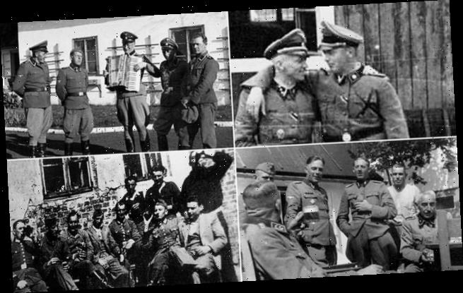 Rare photos show Nazi SS death camp guards drinking beer and laughing