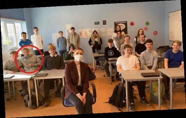 Teenager flips off Danish PM during classroom visit