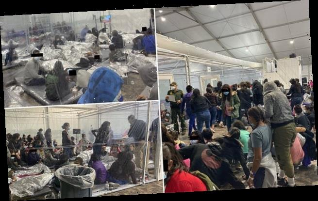 PICTURED: The crowded makeshift migrant 'overflow' tent in Texas