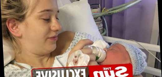 Size six woman gives birth to giant 11lb baby boy after people mistook her bump for twins
