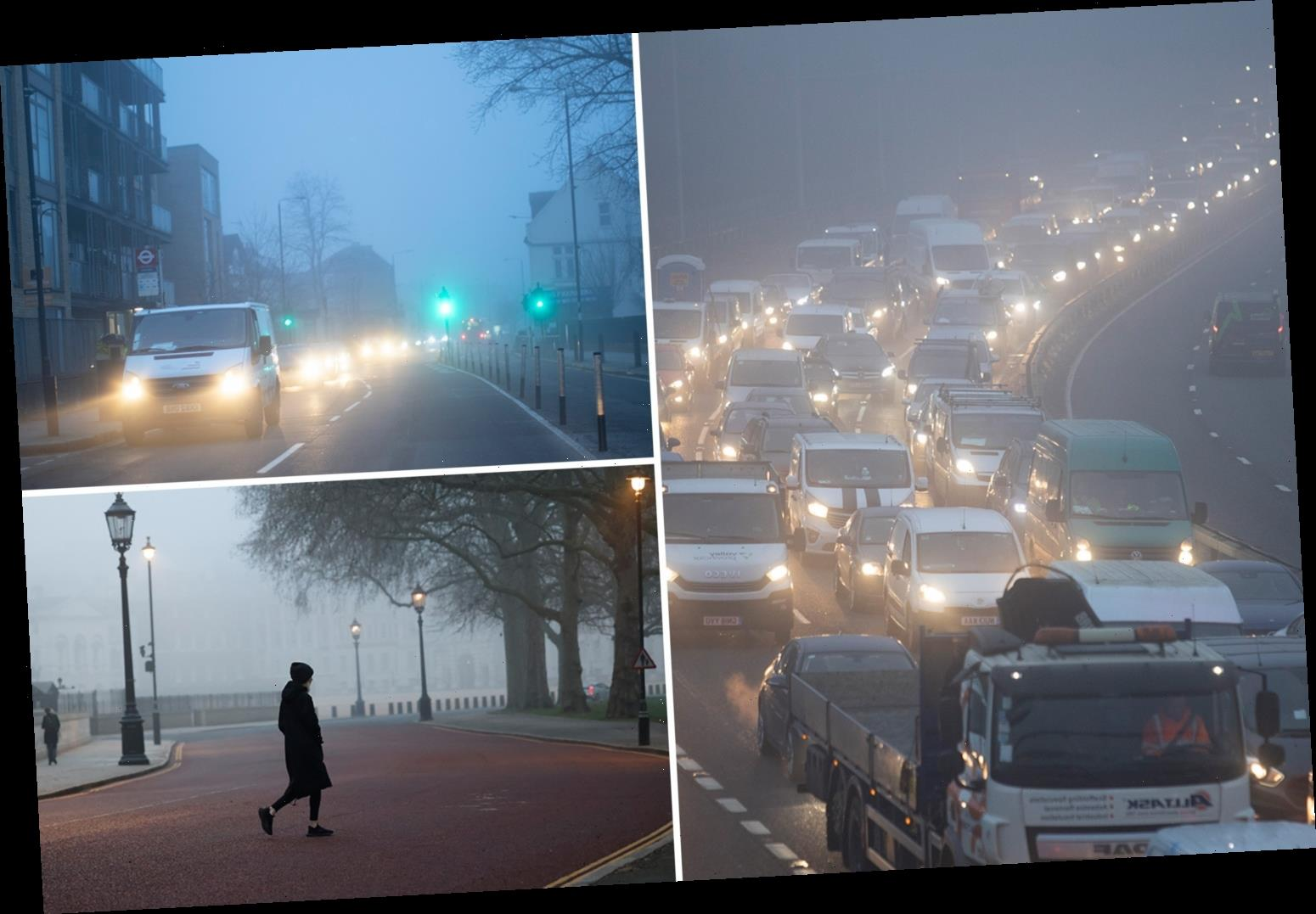 'Severe' fog risks traffic delays and flight cancellations in London and South East as Met Office issues weather warning