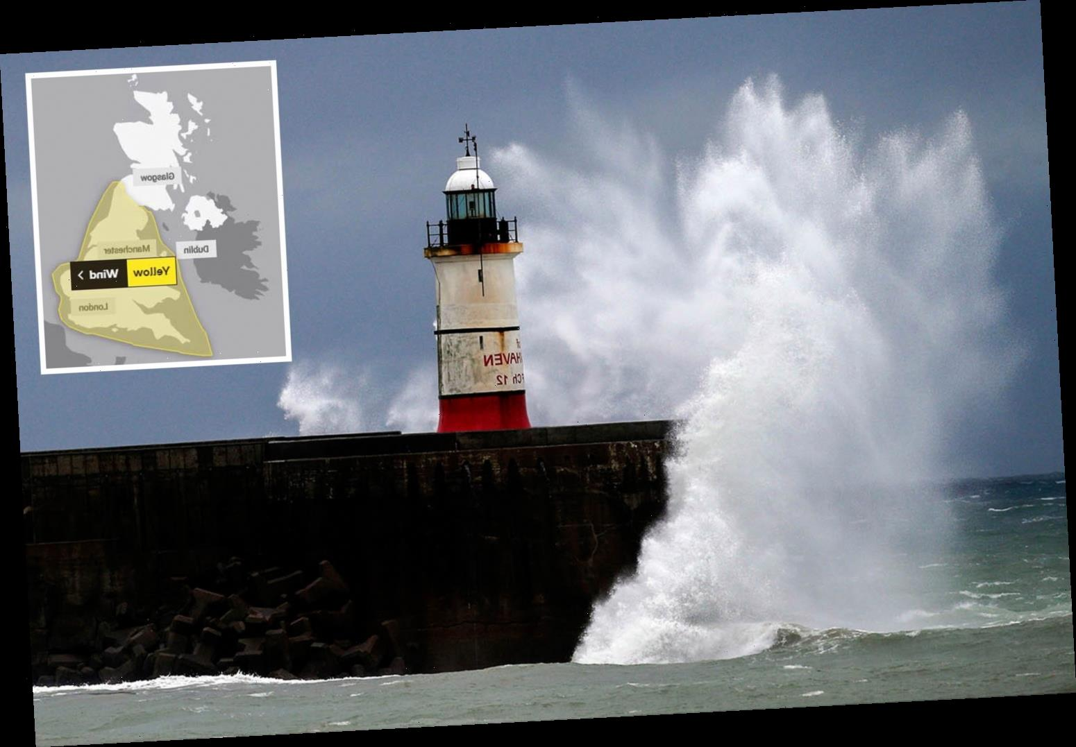 Wind weather warnings for the WHOLE of England and Wales as 70mph gales to batter country