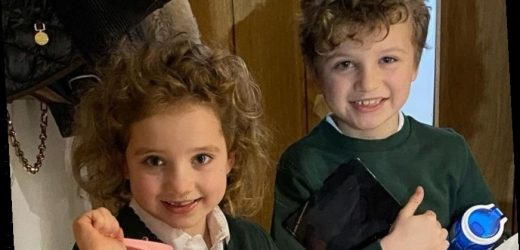 Katie Price shares adorable photo of Bunny, 6, and Jett, 7, in their uniforms as they finally return to school