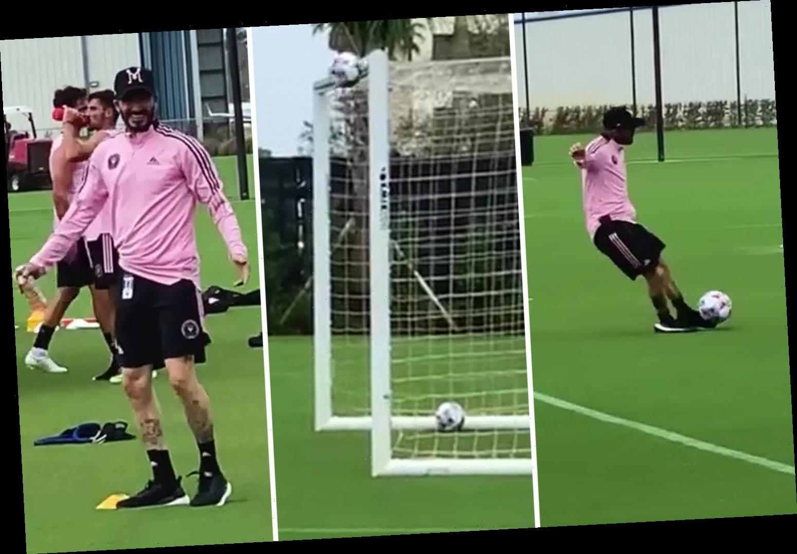 Watch David Beckham roll back years for crossbar challenge in Inter Miami training but Phil Neville doubts video is real