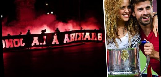 Sick PSG fans hold up Shakira 'prostitute' banner ahead of Champions League clash against husband Pique's Barcelona