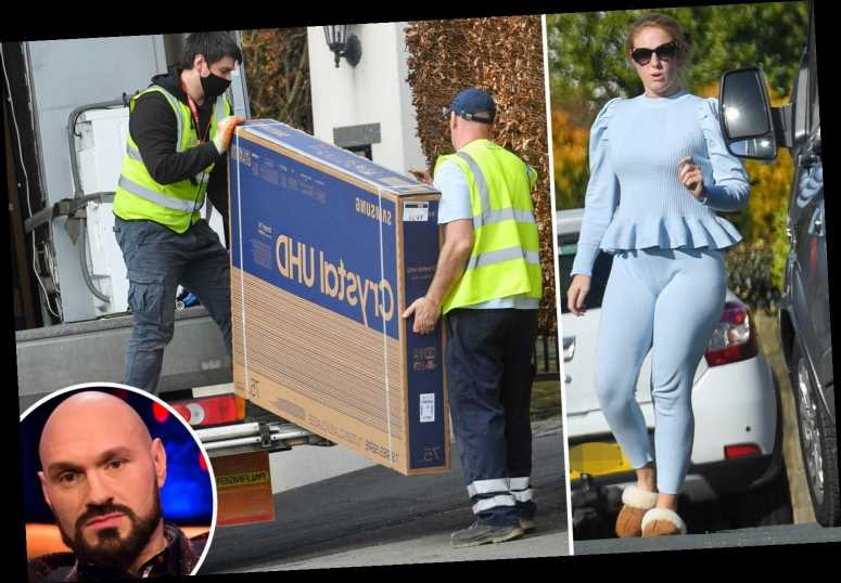 Tyson Fury has three heavyweight TVs delivered to his Morecambe home after signing a two-fight deal with Anthony Joshua
