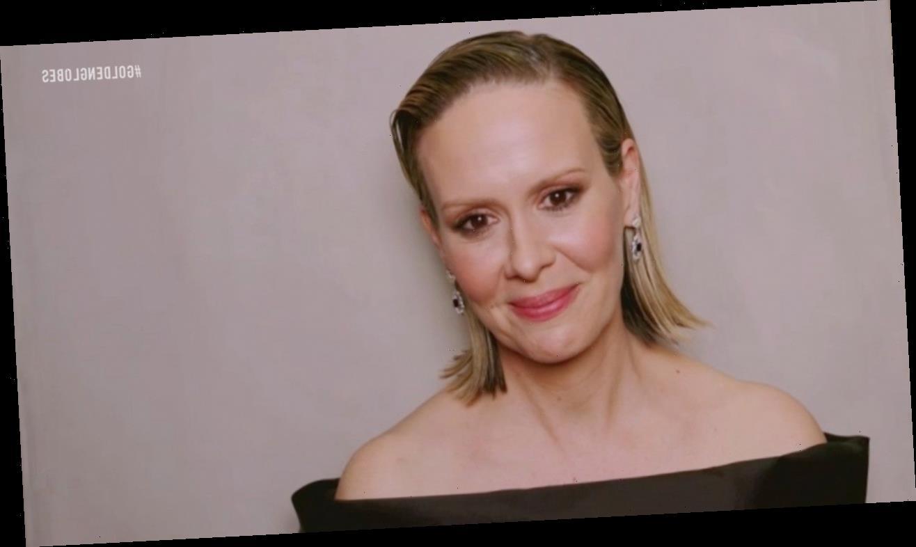 Sarah Paulson Wears Custom Prada Cast at 2021 Golden Globes