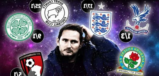 Frank Lampard next club odds: Crystal Palace favourites to appoint ex-Chelsea boss, Celtic, Derby & Fulham in the frame
