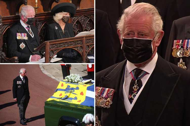 Prince Charles fights back tears at his father's funeral as he pays respects to Duke of Edinburgh