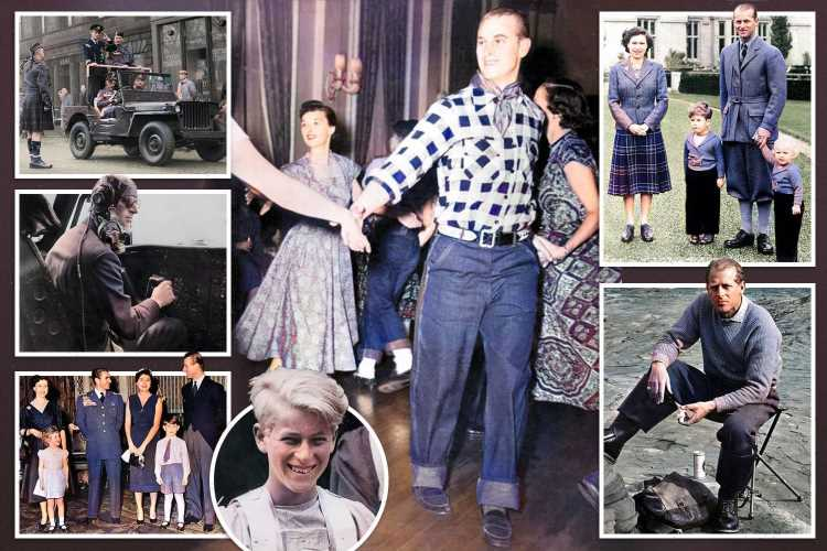 Prince Philip's life as a family man and war hero seen in series of  colourised photographs