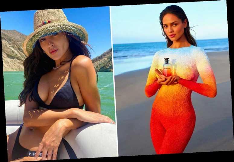 Eiza Gonzalez poses nude in rainbow body paint to promote new perfume