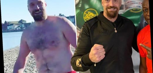 Tyson Fury shows off new look lean body transformation as he meets up with Frank Bruno ahead of Anthony Joshua showdown