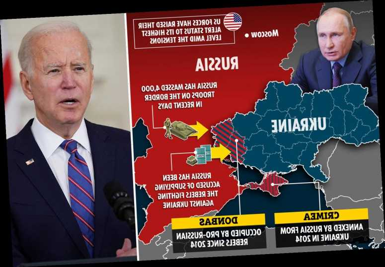 Biden offers Ukraine 'unwavering support' as Putin masses troops and tanks on border sparking war fears