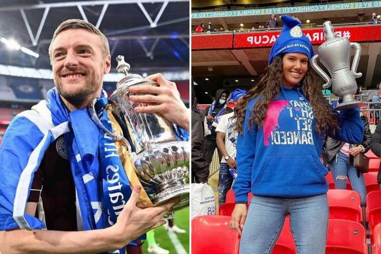 Becky Vardy celebrates husband Jamie's FA Cup win in 'chat sh*t get banged hoody'