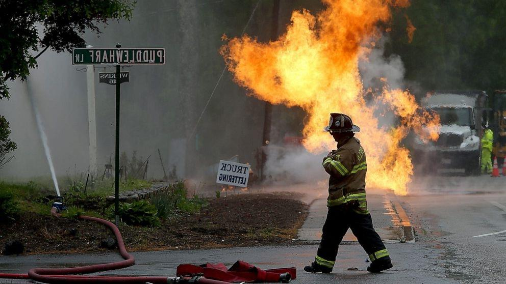 Gas leak causes massive fire in the middle of Massachusetts street