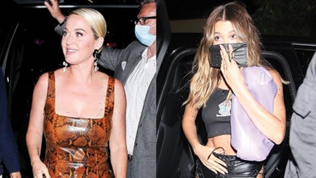 Hailey Baldwin Rocks Cut-Out Leather Pants & Katy Perry Slays In Jumpsuit At Kendall Jenner's Party