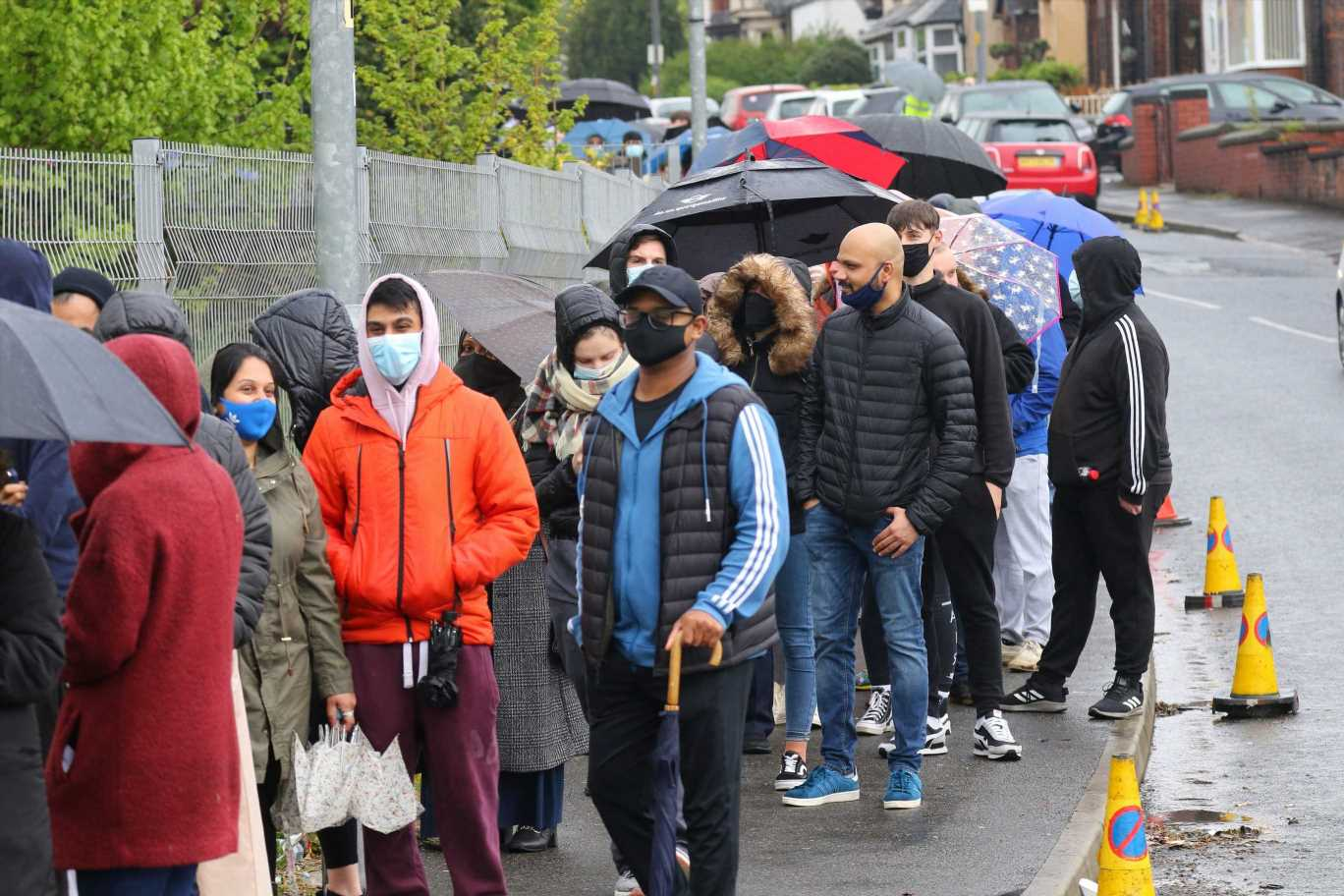 Huge Covid vaccine queue as EVERYONE in Bolton invited to get jab today over Indian variant fears