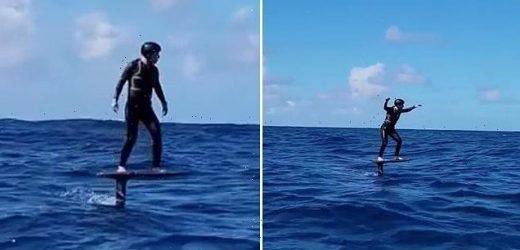 Mark Zuckerberg celebrates 37th birthday surfing on electric board