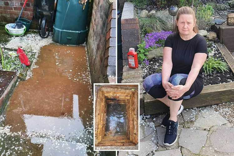 Mum has 'whole street's sewage' flooding into backyard through manhole – and has to wait days to get it fixed