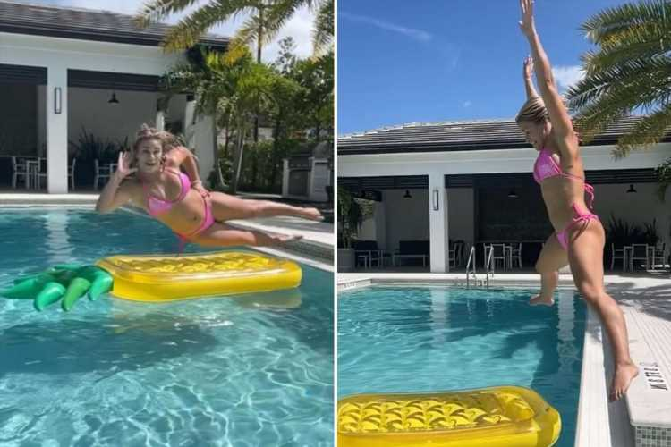 Paige VanZant flips into a pool in pink bikini amid rumors ex-UFC star will face Rachael Ostovich in next BKFC fight