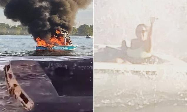Boat bursts into flames after 'harassing' sailors waving pride flags