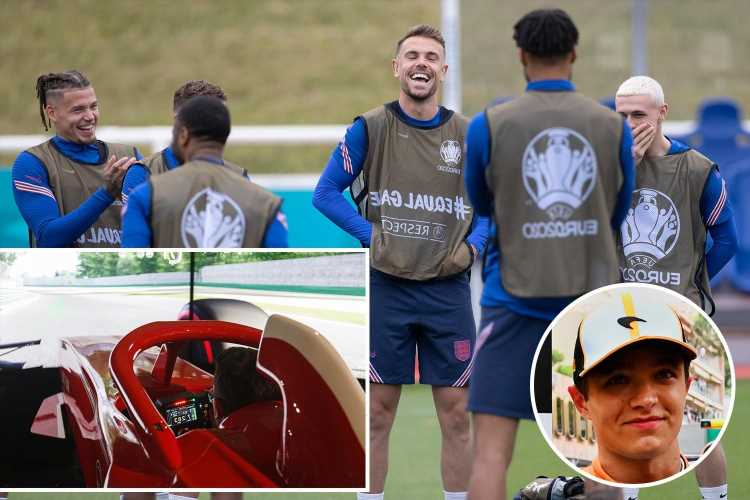 England stars preparing to face Scotland in Euro 2020 by taking on Lando Norris on F1 simulator