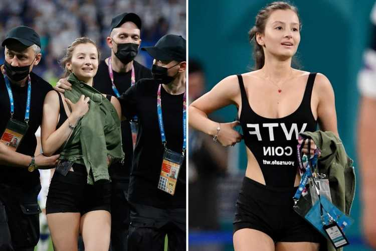 Euro 2020 pitch invader advertises cryptocurrency during Belgium's clash with Finland