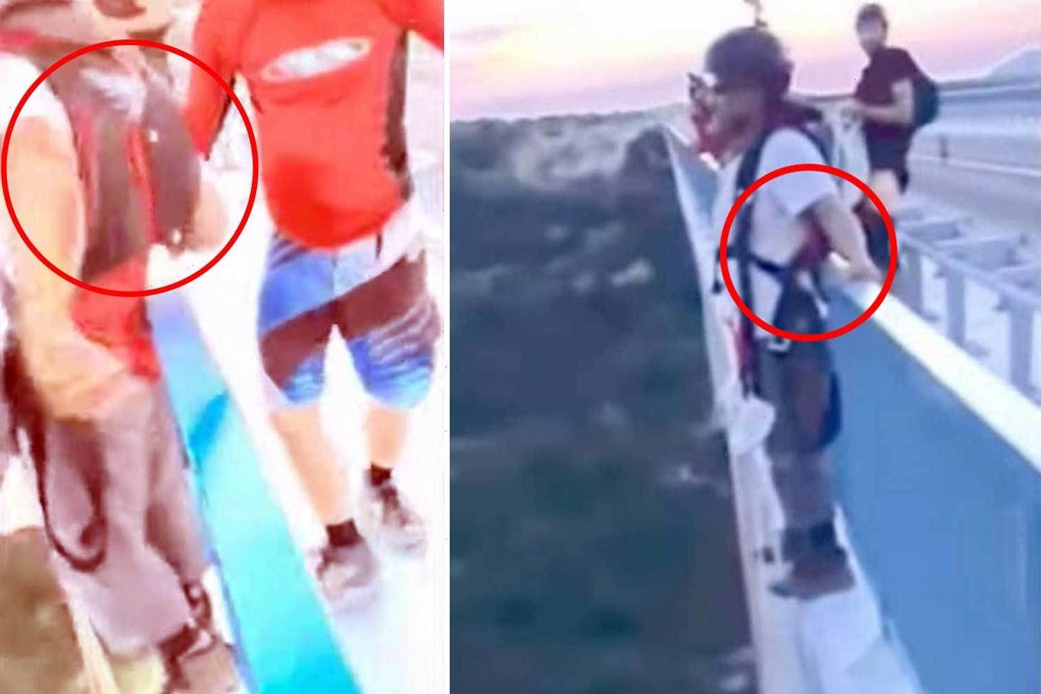 Heart-stopping moment man saves base jumper's life after spotting he WASN'T attached to parachute before plunge