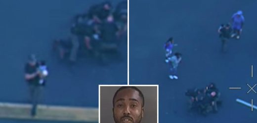 Horrifying moment suspect throws a BABY at a cop as he tries to flee officers following a high speed car chase