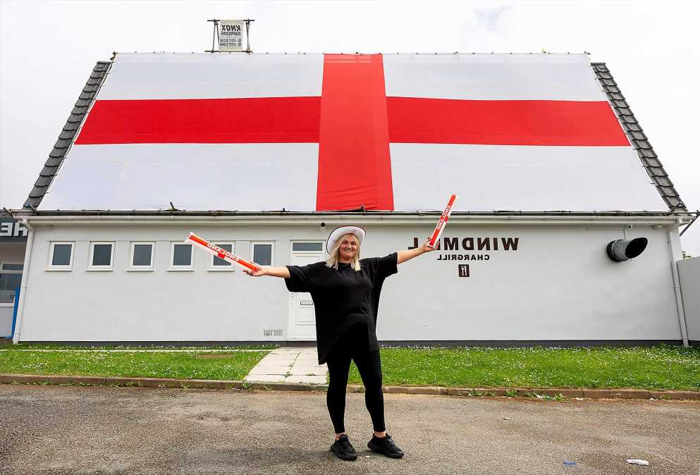 Is this the biggest UK flag in the country? Football fan reveals MASSIVE 50ft by 20ft banner at pub ahead of the Euros