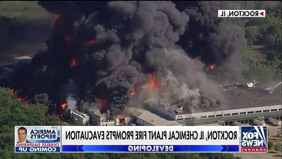 Louisiana private firefighting company to spray foam onto massive Illinois chemical plant fire