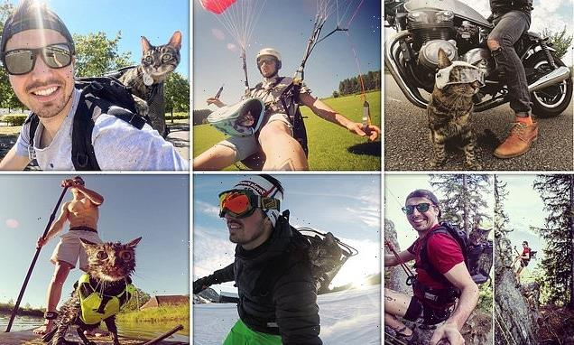 Man takes his beloved rescue cat with him on thrill-seeking adventures