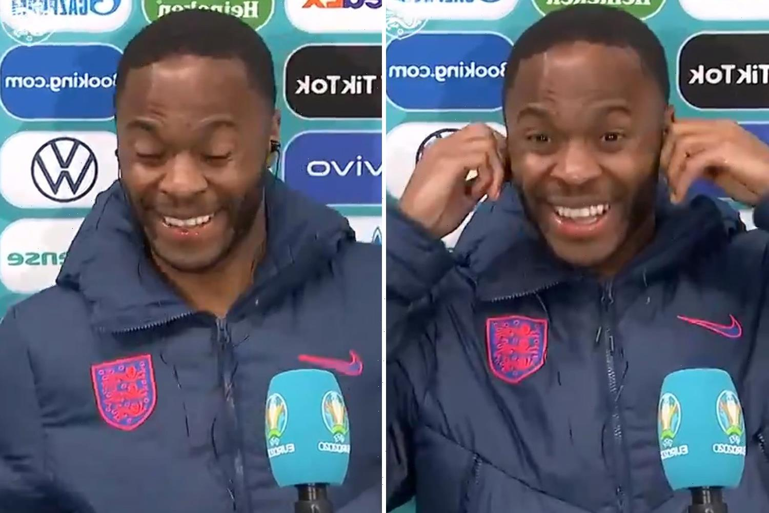 Moment Sterling winces in interview and asks for headphones volume to be turned down after reporter's deafening question