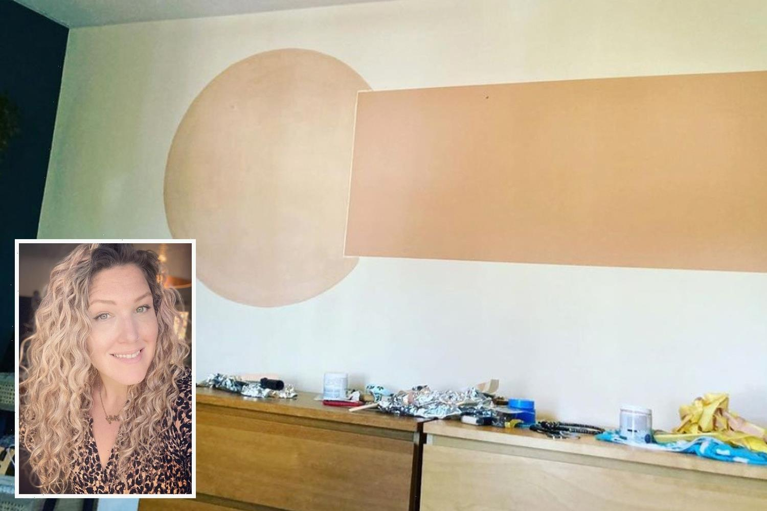Mum spends hours painstakingly painting colour block pattern on bedroom wall – & realises it looks like giant willy