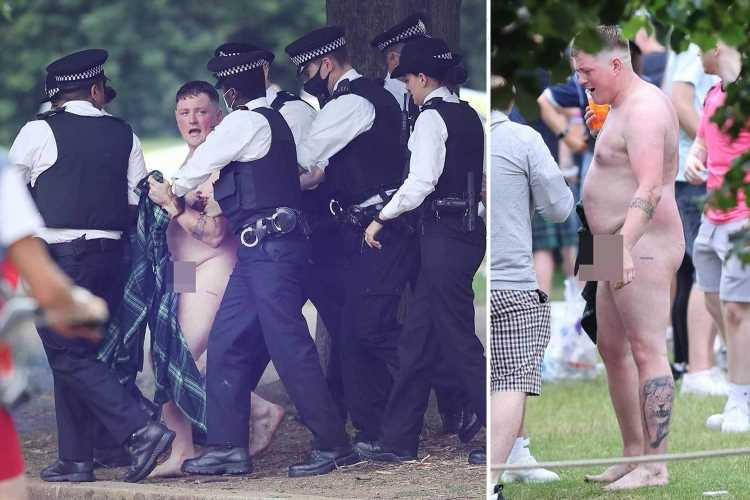 Naked Scottish football fan led away by cops in Hyde Park as thousands descend on London ahead of England Euros match