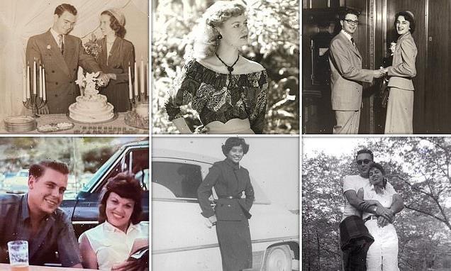 People show vintage photos of parents