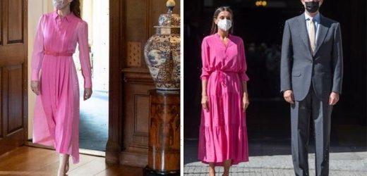 Queen Letizia wears pink dress strikingly similar to Kate Middleton's for visit this week